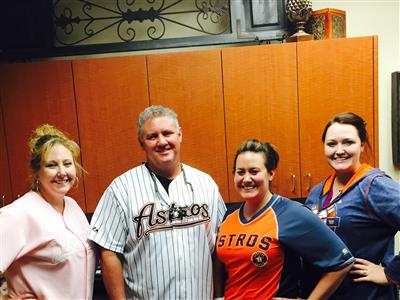 Rimes Supports Houston Astros Custom Stuart Rimes DDS Office Go Astros Day in Support of The Home Teams Game 5 Against the Royals